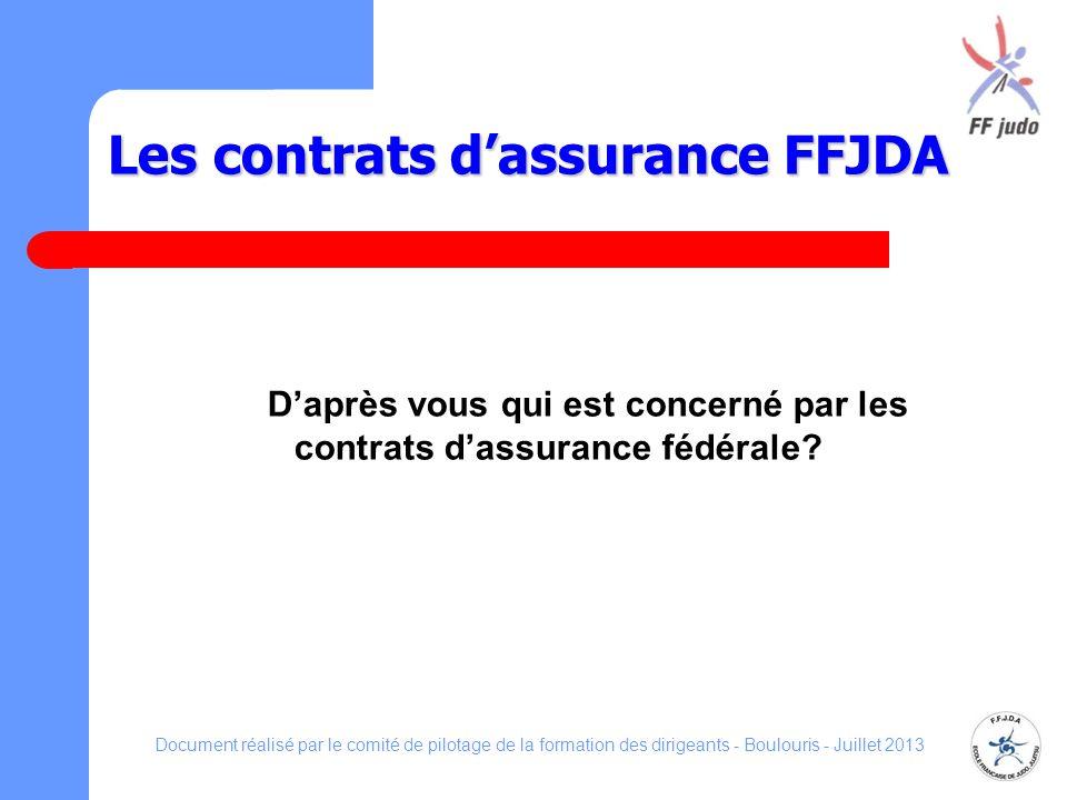 Les contrats dassurance FFJDA Daprès vous qui est concerné par les contrats dassurance fédérale? Document réalisé par le comité de pilotage de la form