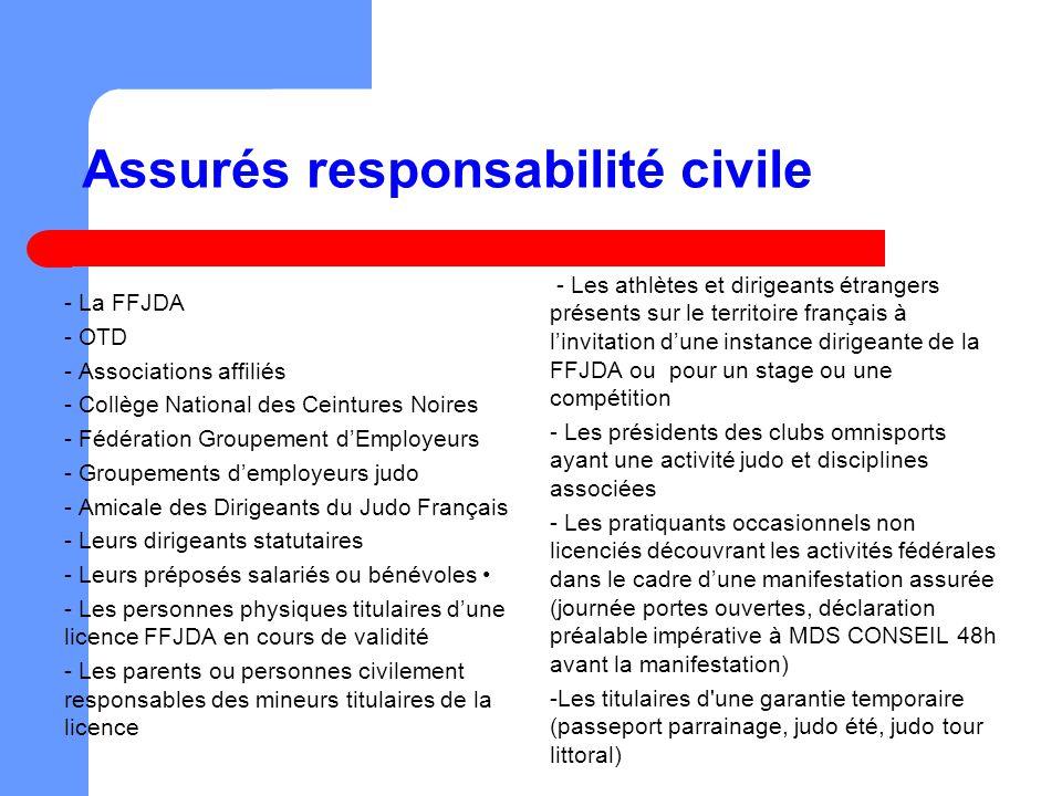Assurés responsabilité civile - La FFJDA - OTD - Associations affiliés - Collège National des Ceintures Noires - Fédération Groupement dEmployeurs - G