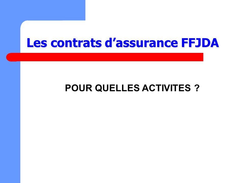 POUR QUELLES ACTIVITES ? Les contrats dassurance FFJDA