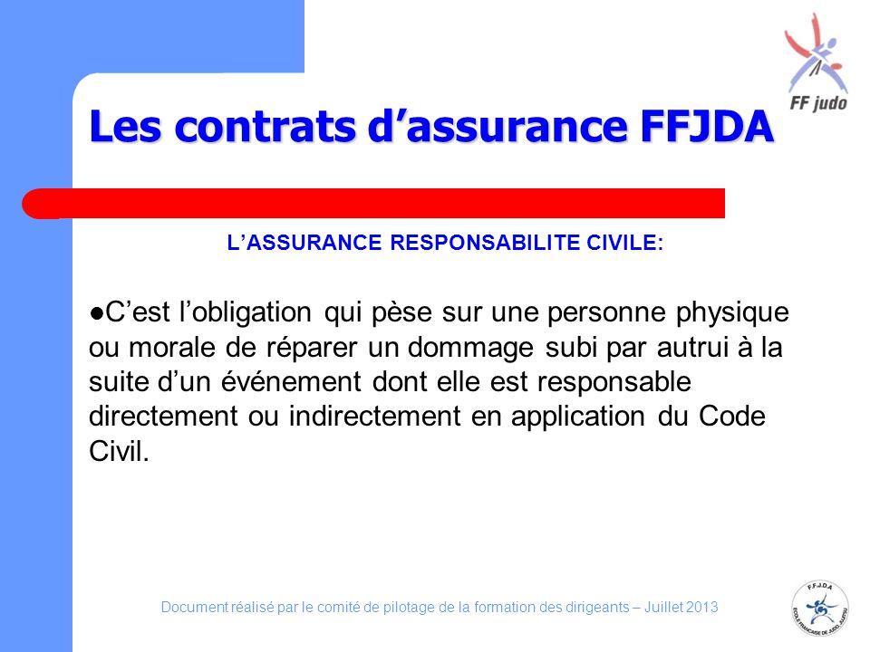 Les contrats dassurance FFJDA LASSURANCE RESPONSABILITE CIVILE: Cest lobligation qui pèse sur une personne physique ou morale de réparer un dommage su