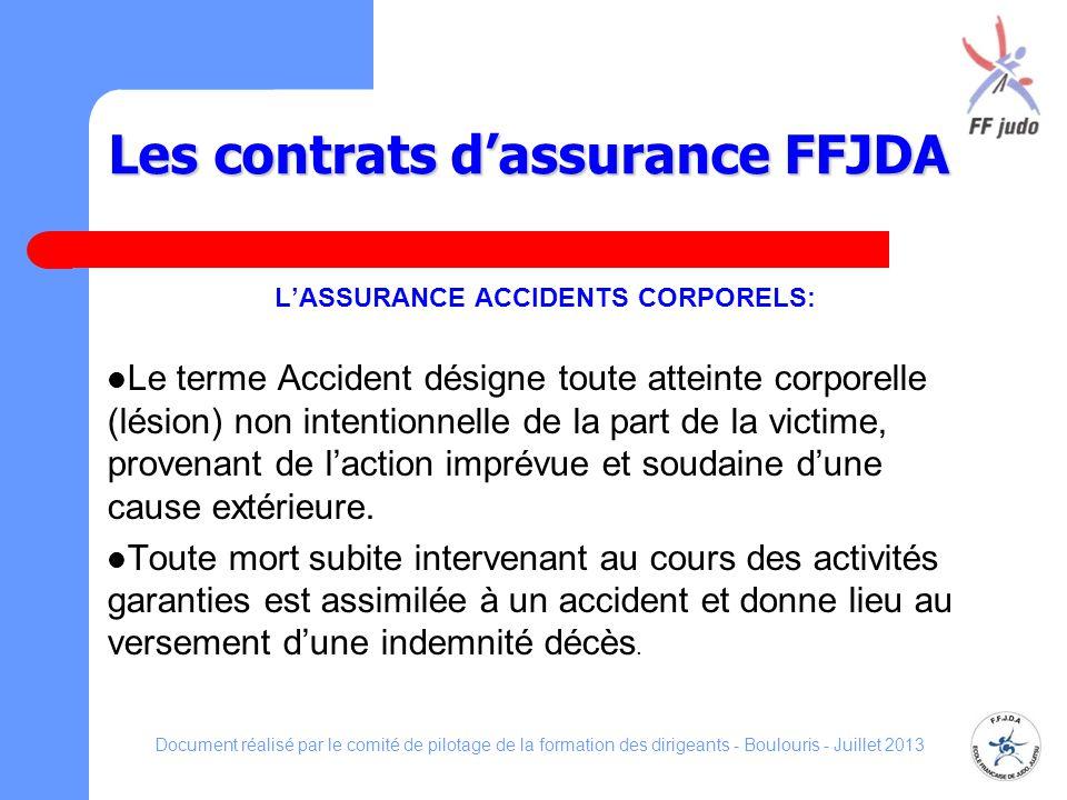 Les contrats dassurance FFJDA LASSURANCE ACCIDENTS CORPORELS: Le terme Accident désigne toute atteinte corporelle (lésion) non intentionnelle de la pa