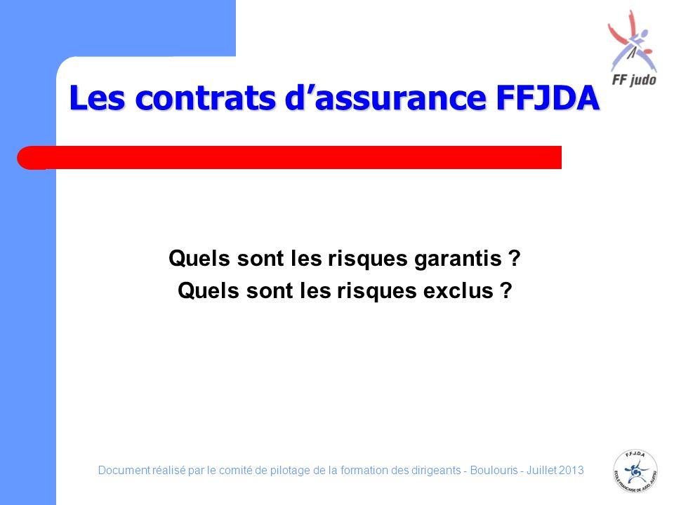 Les contrats dassurance FFJDA Quels sont les risques garantis ? Quels sont les risques exclus ? Document réalisé par le comité de pilotage de la forma