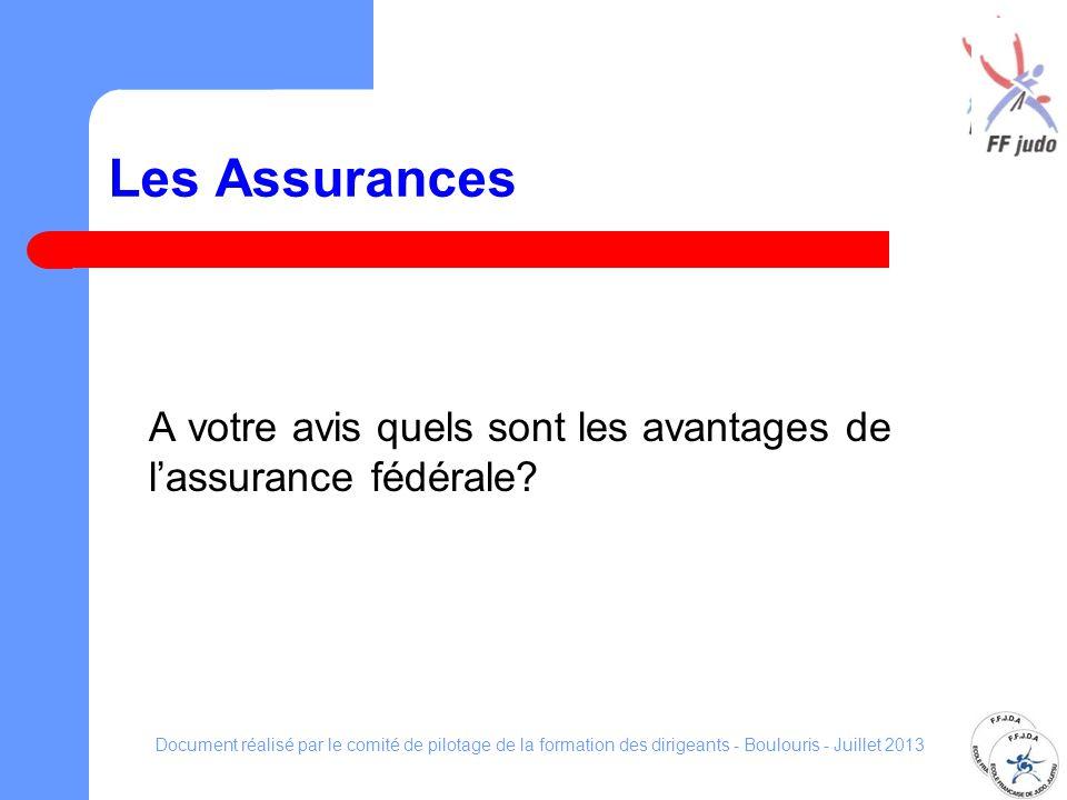 Les Assurances A votre avis quels sont les avantages de lassurance fédérale? Document réalisé par le comité de pilotage de la formation des dirigeants