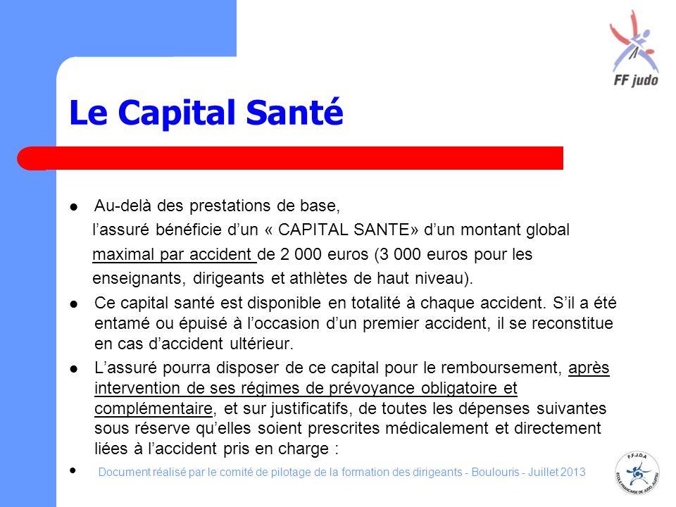 Le Capital Santé Au-delà des prestations de base, lassuré bénéficie dun « CAPITAL SANTE» dun montant global maximal par accident de 2 000 euros (3 000