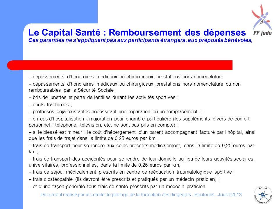Le Capital Santé : Remboursement des dépenses Ces garanties ne sappliquent pas aux participants étrangers, aux préposés bénévoles, – dépassements dhon