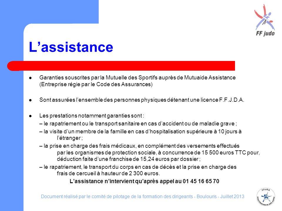 Lassistance Garanties souscrites par la Mutuelle des Sportifs auprès de Mutuaide Assistance (Entreprise régie par le Code des Assurances) Sont assurée