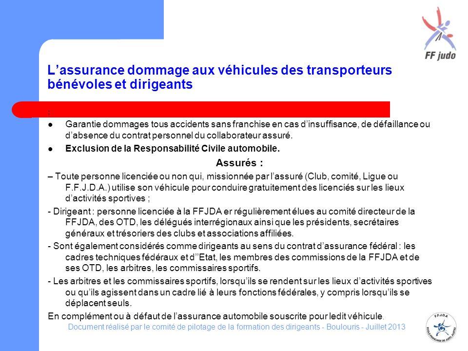Lassurance dommage aux véhicules des transporteurs bénévoles et dirigeants : Garantie dommages tous accidents sans franchise en cas dinsuffisance, de