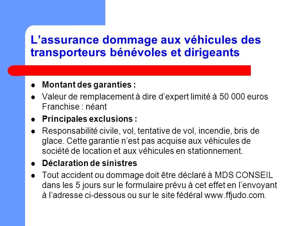 Lassurance dommage aux véhicules des transporteurs bénévoles et dirigeants Montant des garanties : Valeur de remplacement à dire dexpert limité à 50 0