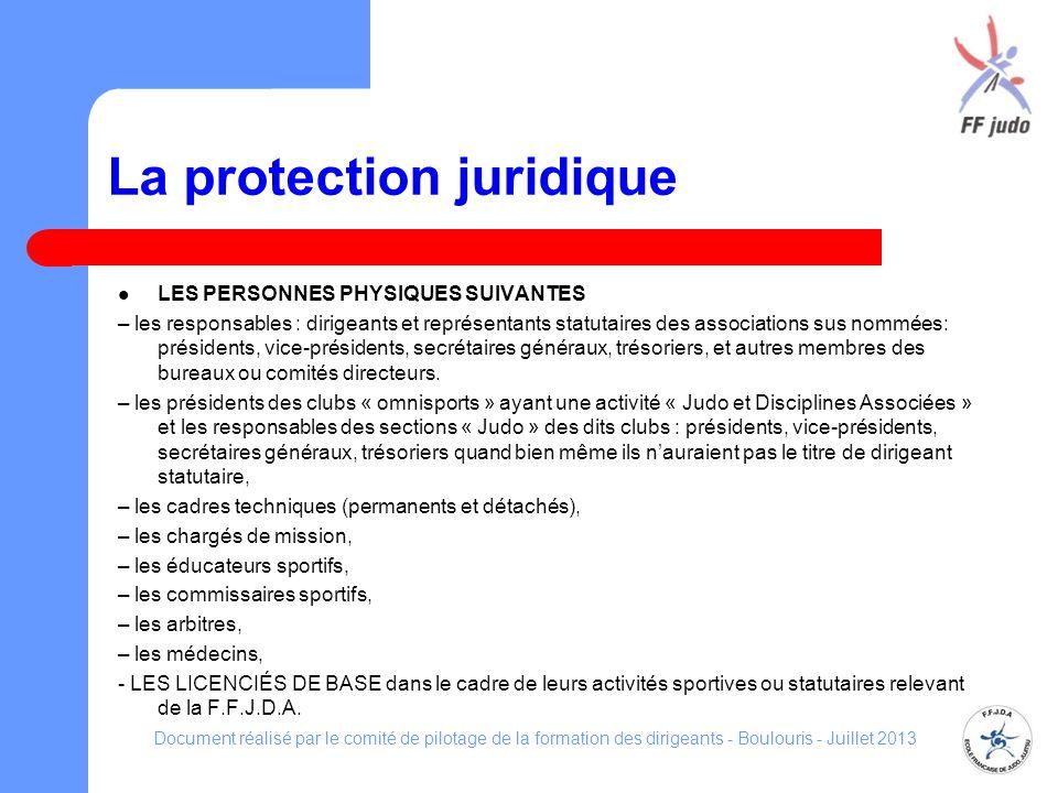 La protection juridique LES PERSONNES PHYSIQUES SUIVANTES – les responsables : dirigeants et représentants statutaires des associations sus nommées: p