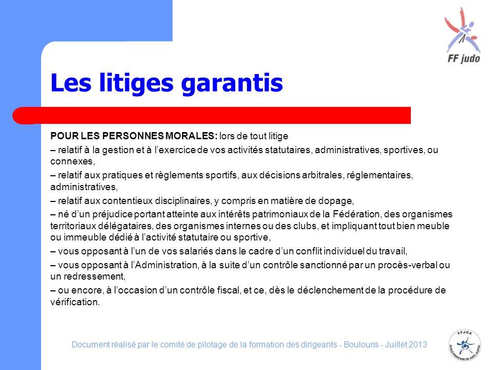 Les litiges garantis POUR LES PERSONNES MORALES: lors de tout litige – relatif à la gestion et à lexercice de vos activités statutaires, administrativ