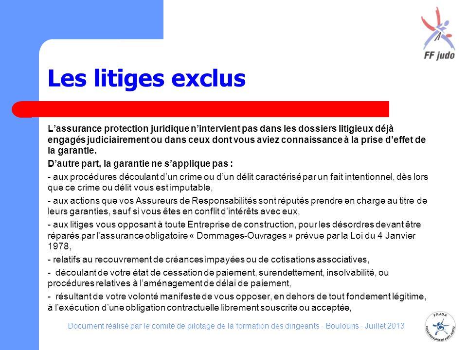Les litiges exclus Lassurance protection juridique nintervient pas dans les dossiers litigieux déjà engagés judiciairement ou dans ceux dont vous avie