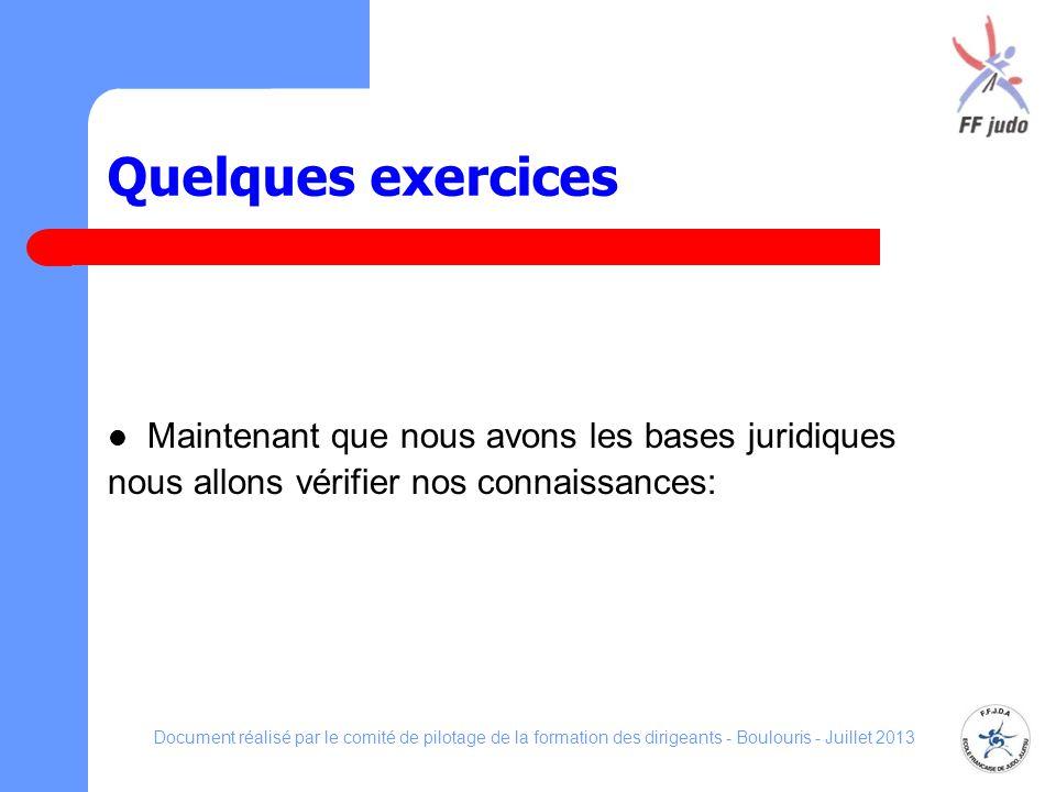 Quelques exercices Maintenant que nous avons les bases juridiques nous allons vérifier nos connaissances: Document réalisé par le comité de pilotage d