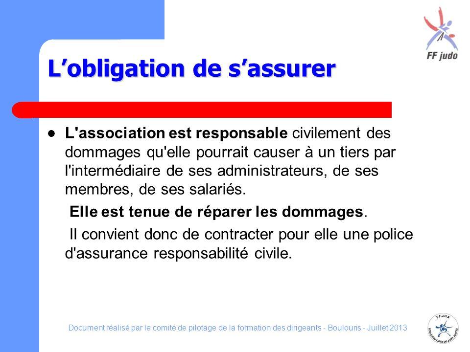 Lobligation de sassurer L'association est responsable civilement des dommages qu'elle pourrait causer à un tiers par l'intermédiaire de ses administra