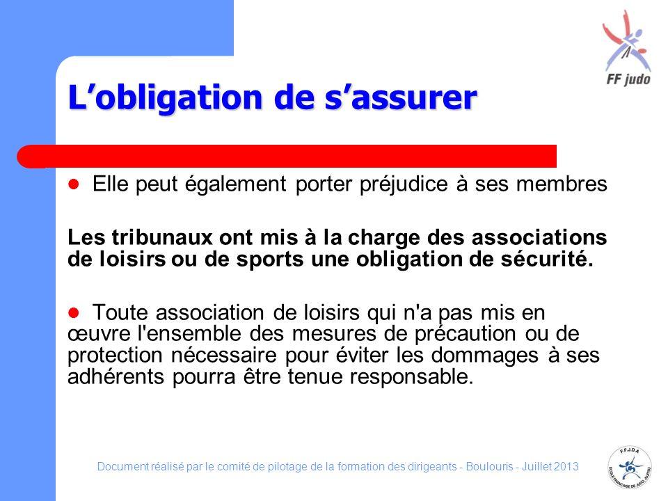 Lobligation de sassurer Elle peut également porter préjudice à ses membres Les tribunaux ont mis à la charge des associations de loisirs ou de sports
