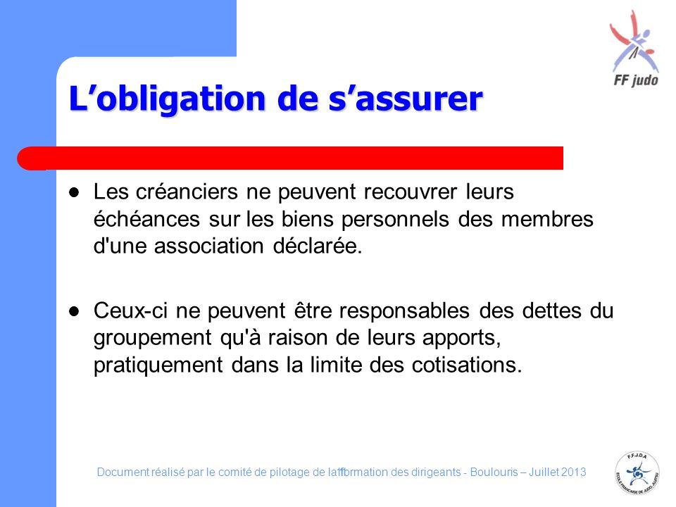 Lobligation de sassurer Les créanciers ne peuvent recouvrer leurs échéances sur les biens personnels des membres d'une association déclarée. Ceux-ci n