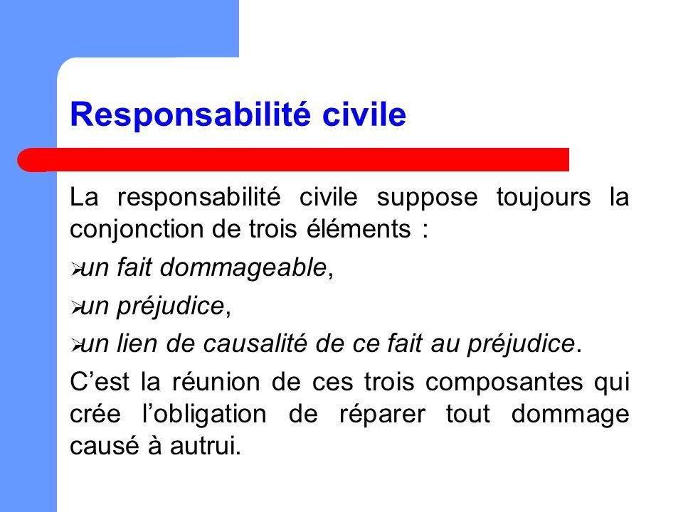 Responsabilité civile La responsabilité civile suppose toujours la conjonction de trois éléments : un fait dommageable, un préjudice, un lien de causalité de ce fait au préjudice.