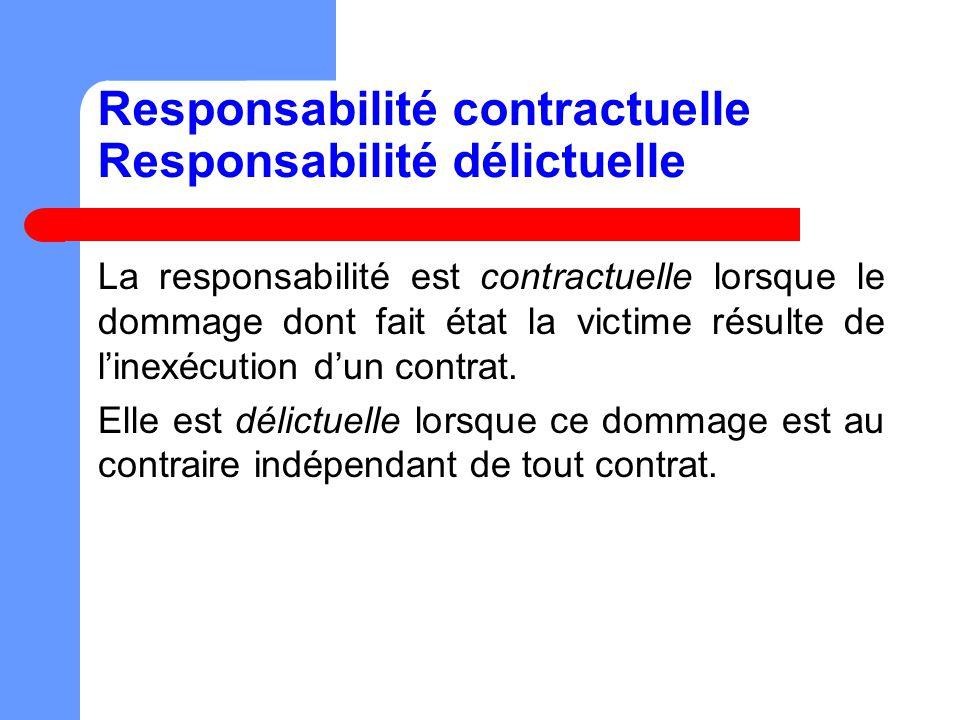 Responsabilité contractuelle Responsabilité délictuelle La responsabilité est contractuelle lorsque le dommage dont fait état la victime résulte de linexécution dun contrat.