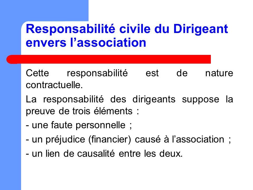 Responsabilité civile du Dirigeant envers lassociation Cette responsabilité est de nature contractuelle.