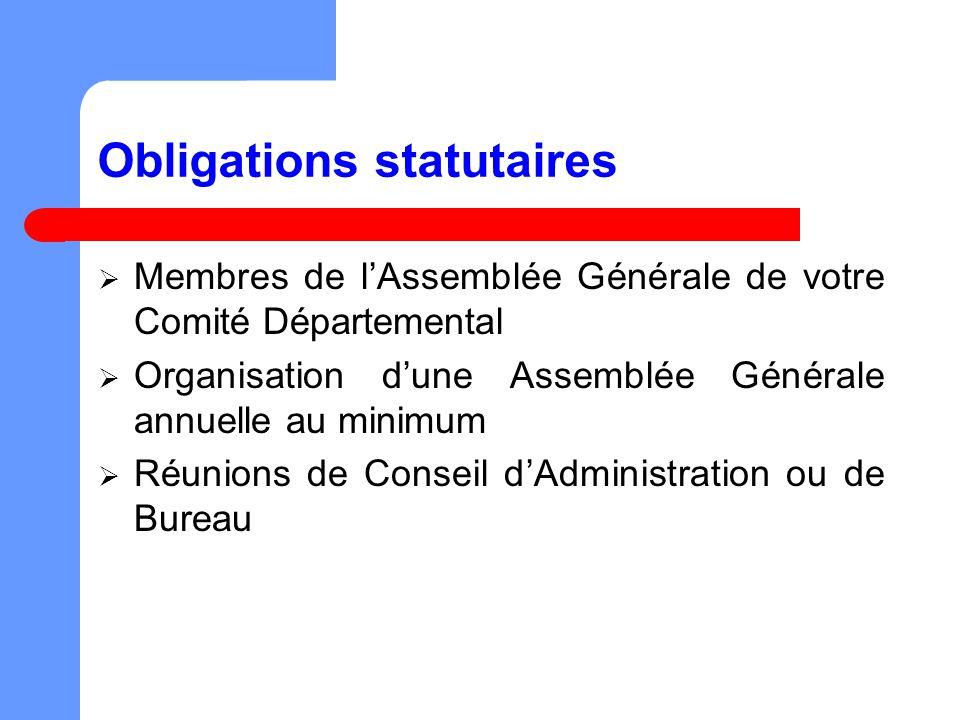 Obligations statutaires Membres de lAssemblée Générale de votre Comité Départemental Organisation dune Assemblée Générale annuelle au minimum Réunions de Conseil dAdministration ou de Bureau