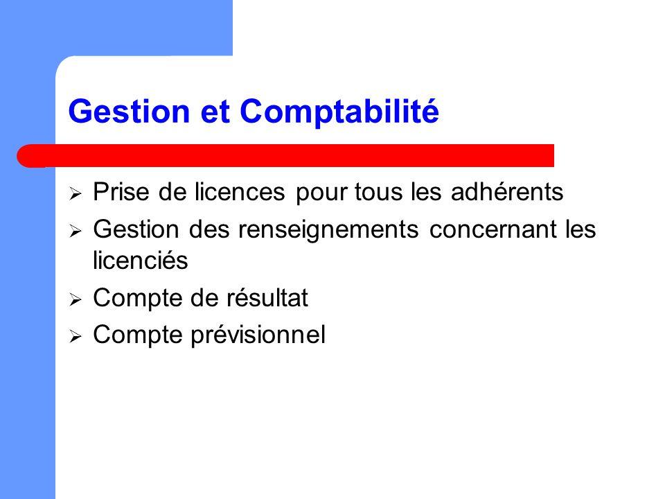 Gestion et Comptabilité Prise de licences pour tous les adhérents Gestion des renseignements concernant les licenciés Compte de résultat Compte prévisionnel