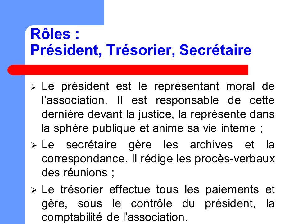 Rôles : Président, Trésorier, Secrétaire Le président est le représentant moral de lassociation.