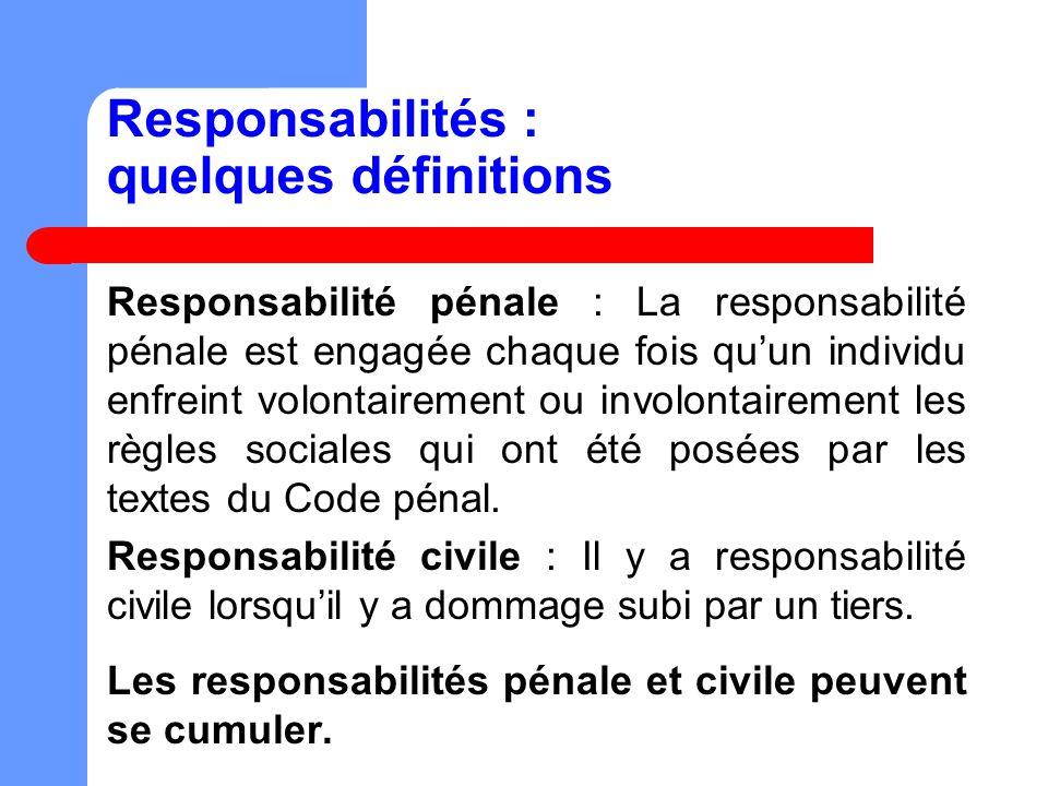 Responsabilités : quelques définitions Responsabilité pénale : La responsabilité pénale est engagée chaque fois quun individu enfreint volontairement ou involontairement les règles sociales qui ont été posées par les textes du Code pénal.