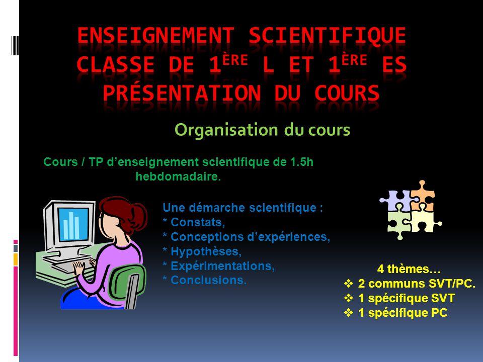 Organisation du cours Cours / TP denseignement scientifique de 1.5h hebdomadaire.