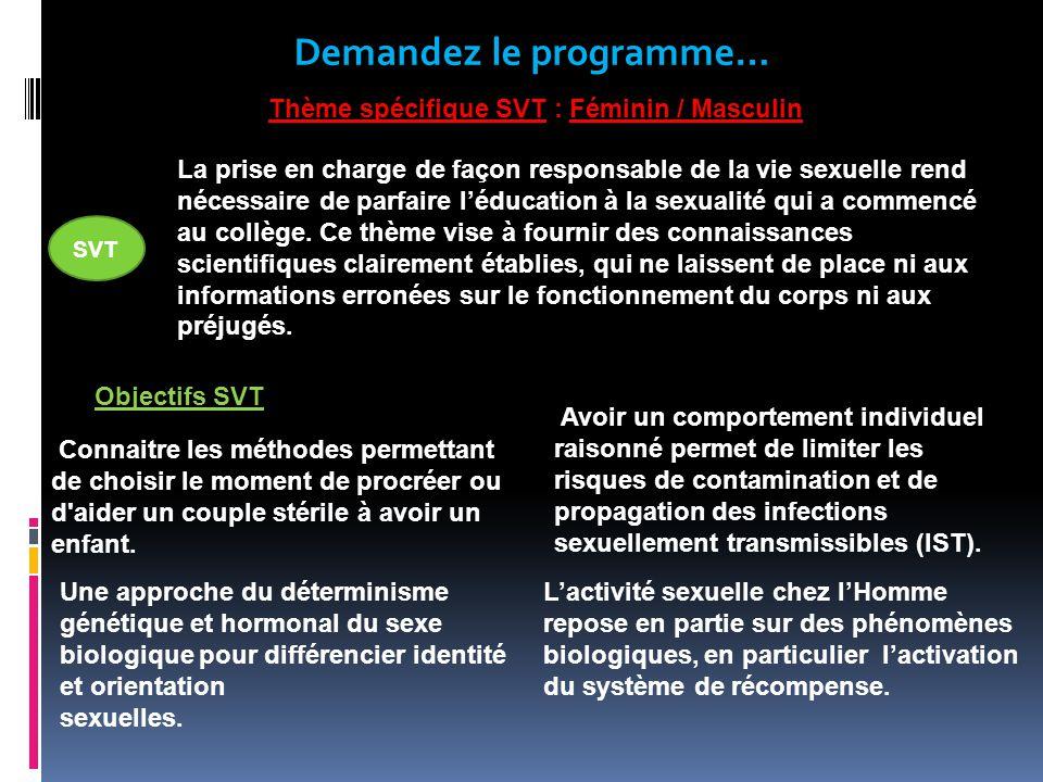 Demandez le programme… Thème spécifique SVT : Féminin / Masculin Objectifs SVT SVT La prise en charge de façon responsable de la vie sexuelle rend nécessaire de parfaire léducation à la sexualité qui a commencé au collège.