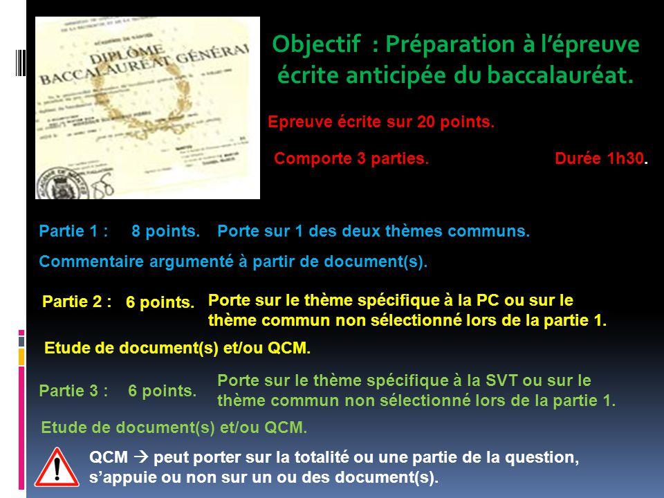 Objectif : Préparation à lépreuve écrite anticipée du baccalauréat.