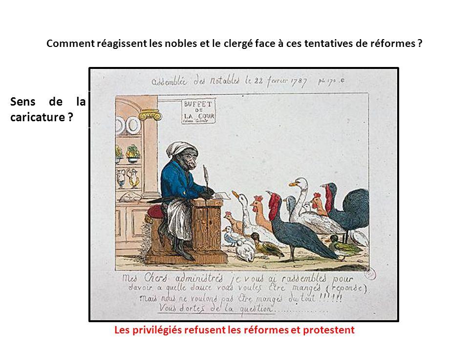 Comment réagissent les nobles et le clergé face à ces tentatives de réformes ? Sens de la caricature ? Les privilégiés refusent les réformes et protes