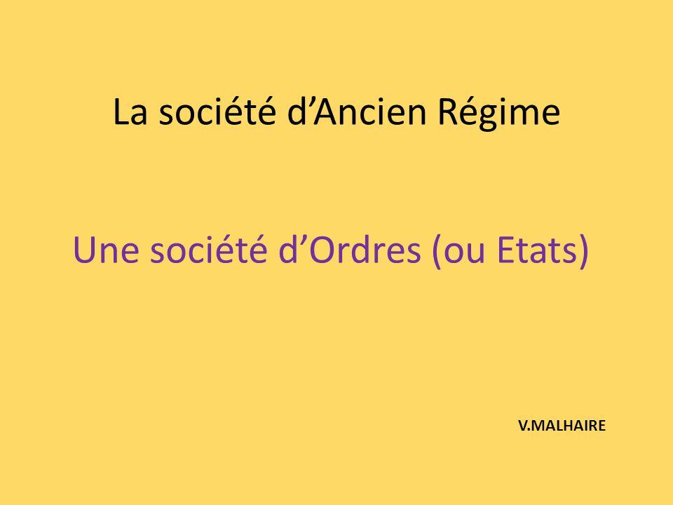 La société dAncien Régime Une société dOrdres (ou Etats) V.MALHAIRE