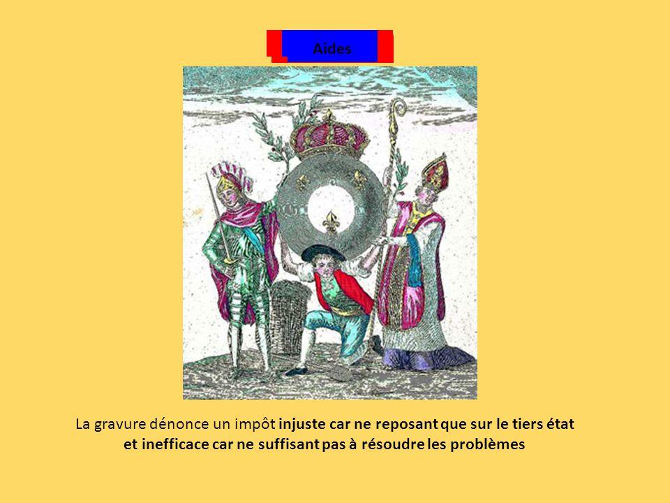 Taille CapitationDixièmeVingtièmeGabelle Aides La gravure dénonce un impôt injuste car ne reposant que sur le tiers état et inefficace car ne suffisan
