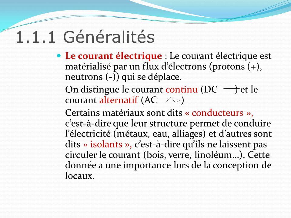 1.1.1 Généralités Le courant électrique peut être définit selon plusieurs caractéristiques : Lintensité (symbole I) Exprimée en Ampères (A), lintensité représente le débit de charges électriques passant dans une section.