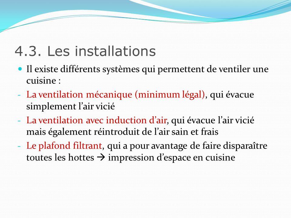 4.3 Les installations Fourneau Hotte 1.90 à 2.10 m 0.50 à 0.60 m 0.20 m min