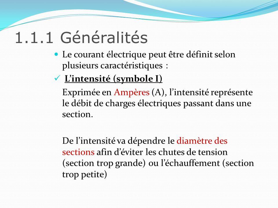 1.1.1 Généralités La tension électrique (symbole U) La tension correspond à la force électromotrice du champ électrique.
