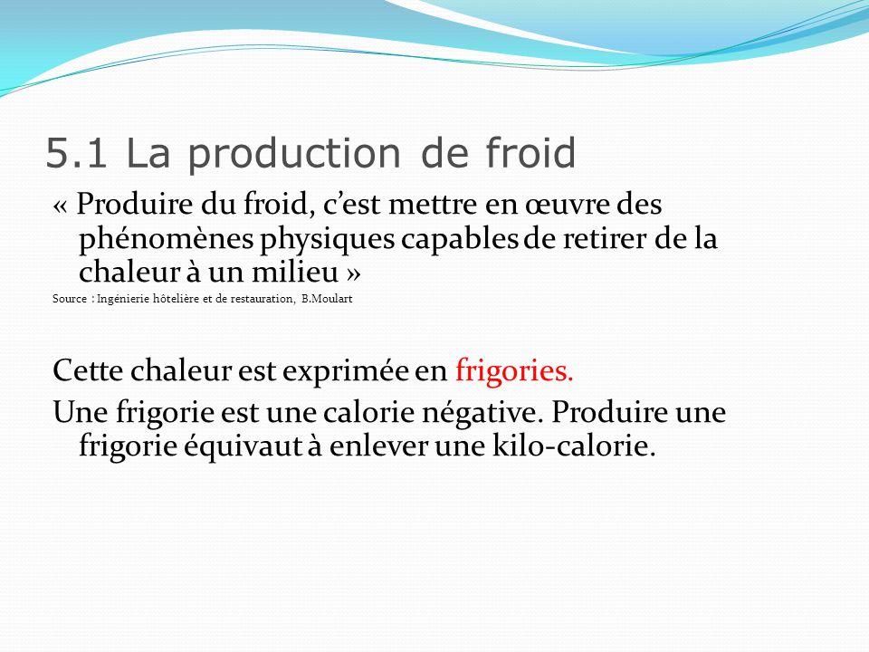 5.1 La production de froid PRINCIPE GENERAL Le groupe frigorifique à pour but de déplacer des calories entre 2 milieux.