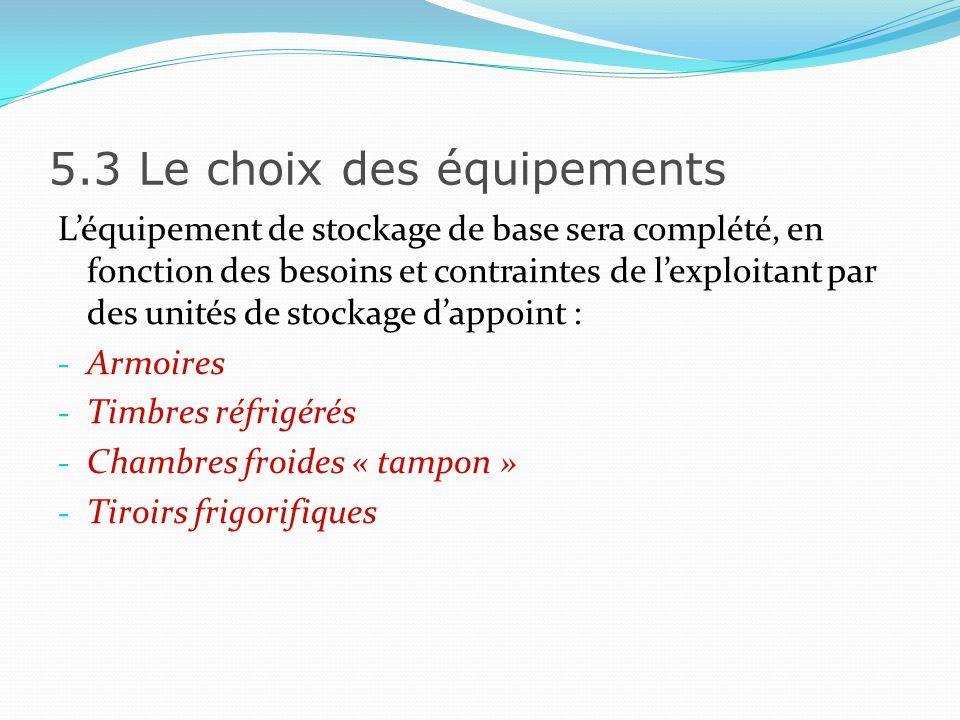 5.3 Le choix des équipements Les équipements liés au froid auront une qualité minimale quil faudra spécifier précisément dans le cahier des charges : - épaisseur des parois - bruit - puissance etc…
