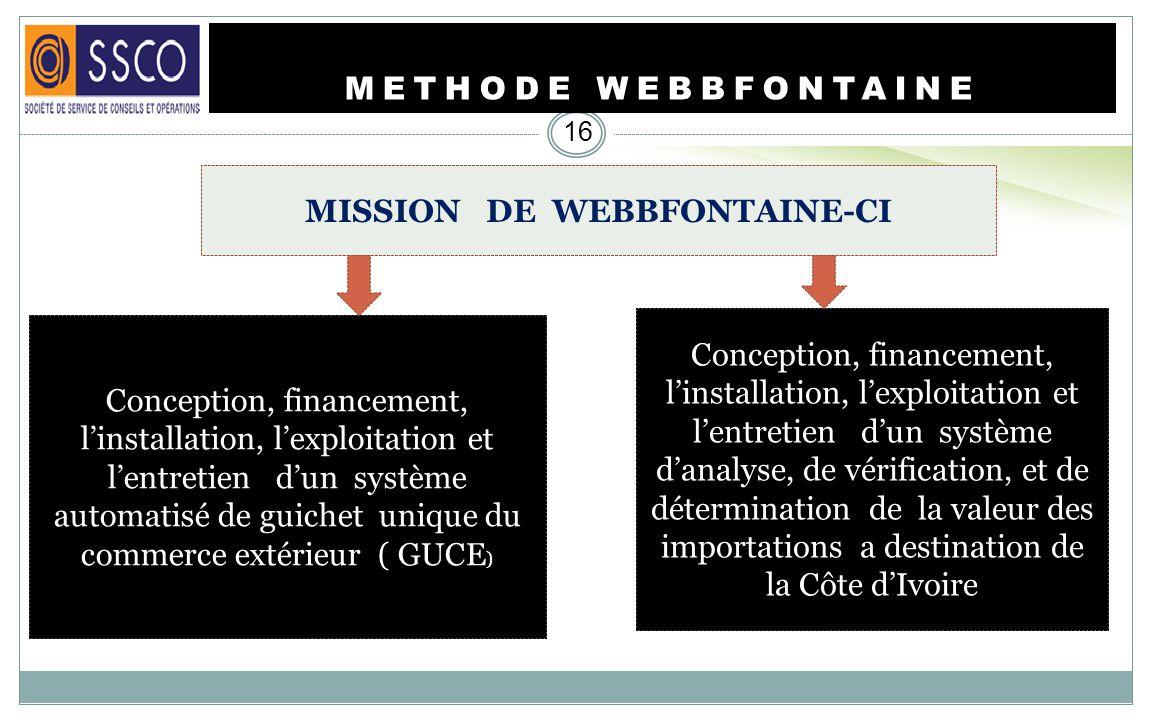 METHODE WEBBFONTAINE 15 Webb Fontaine CI est une société de droit ivoirien qui fait partie du groupe Webb Fontaine dont les sièges se trouvent à Dubai