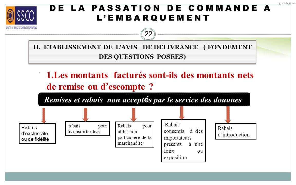 DE LA PASSATION DE COMMANDE A LEMBARQUEMENT 21 II. ETABLISSEMENT DE LAVIS DE DELIVRANCE ( FONDEMENT DES QUESTIONS POSEES) 1.Les montants factur é s so