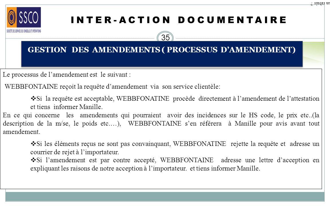 INTER-ACTION DOCUMENTAIRE 34 GESTION DES AMENDEMENTS ( TYPES DAMENDEMENTS) Qu est ce qu un rabais ? CAS N°4 : Limportateur peut demander lamendement d