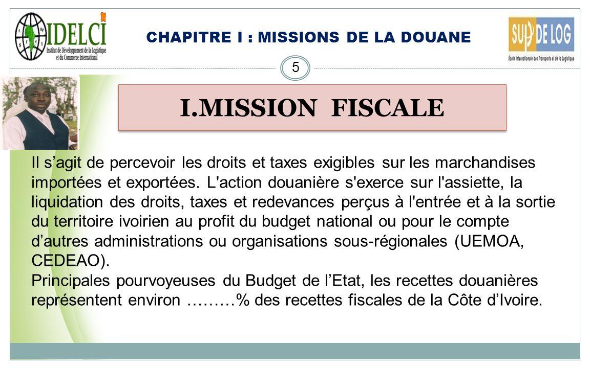 CHAPITRE I : MISSIONS DE LA DOUANE 5 I.MISSION FISCALE Il sagit de percevoir les droits et taxes exigibles sur les marchandises importées et exportées.