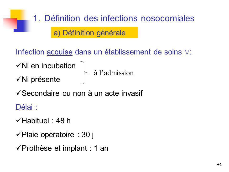 41 1.Définition des infections nosocomiales a) Définition générale Infection acquise dans un établissement de soins : Ni en incubation Ni présente Sec