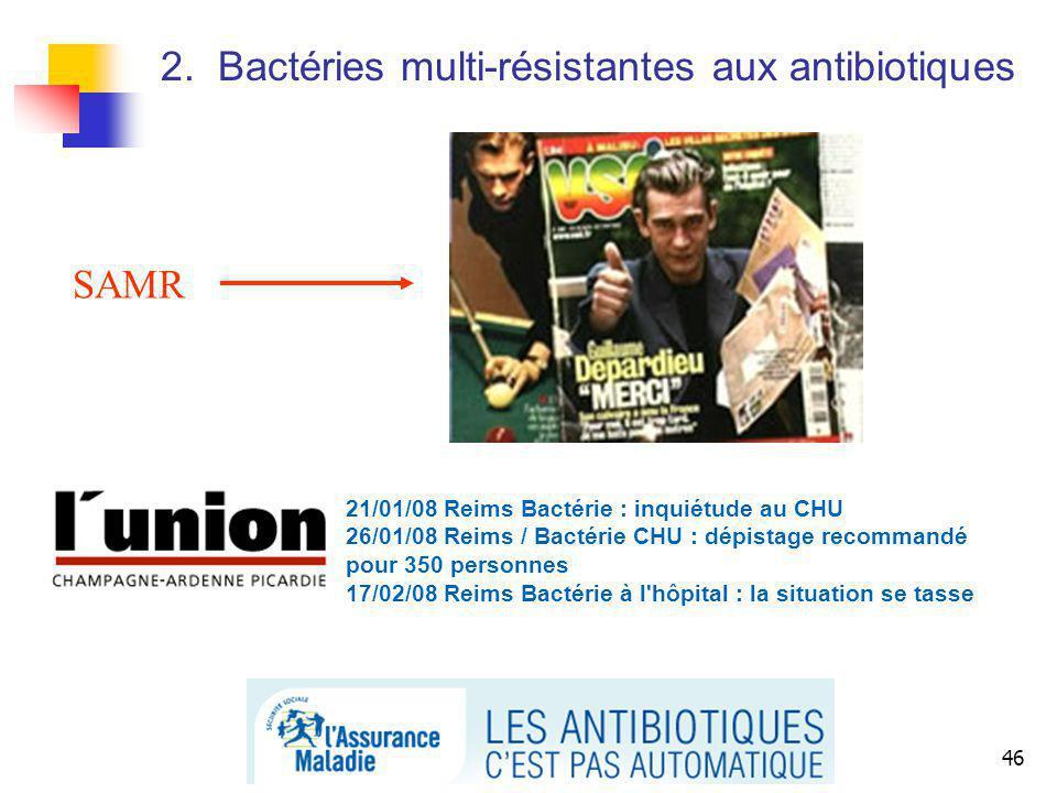 46 SAMR 21/01/08 Reims Bactérie : inquiétude au CHU 26/01/08 Reims / Bactérie CHU : dépistage recommandé pour 350 personnes 17/02/08 Reims Bactérie à