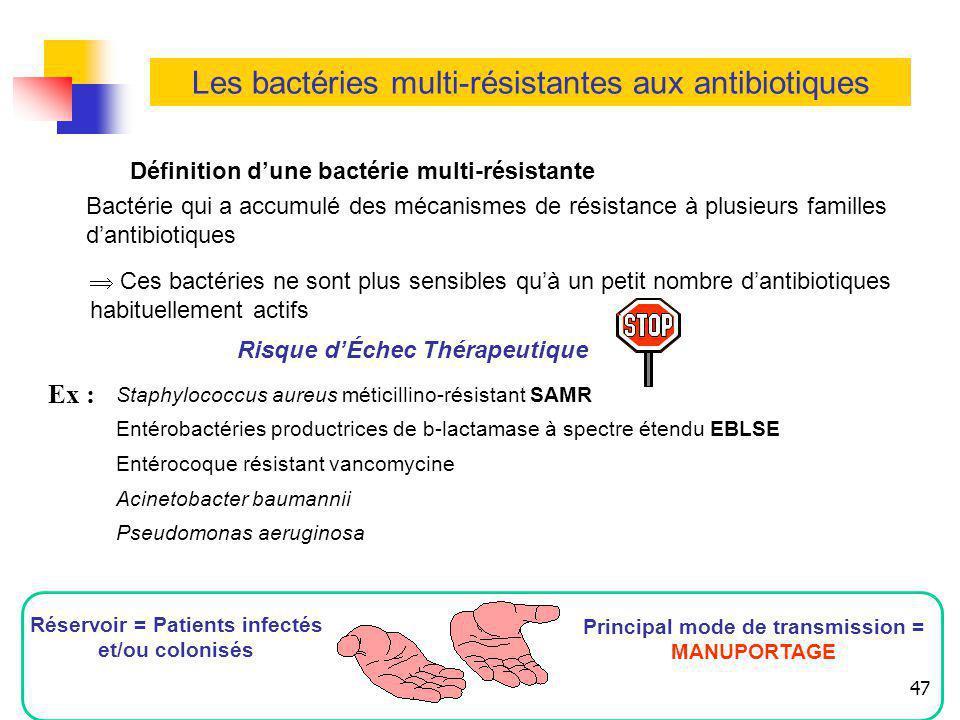 47 Les bactéries multi-résistantes aux antibiotiques Définition dune bactérie multi-résistante Bactérie qui a accumulé des mécanismes de résistance à