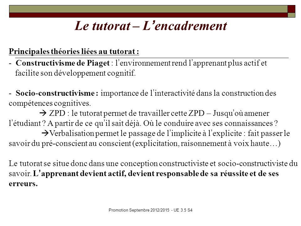 Promotion Septembre 2012/2015 - UE 3.5 S4 Le tutorat – Lencadrement Principales théories liées au tutorat : - Constructivisme de Piaget : lenvironneme