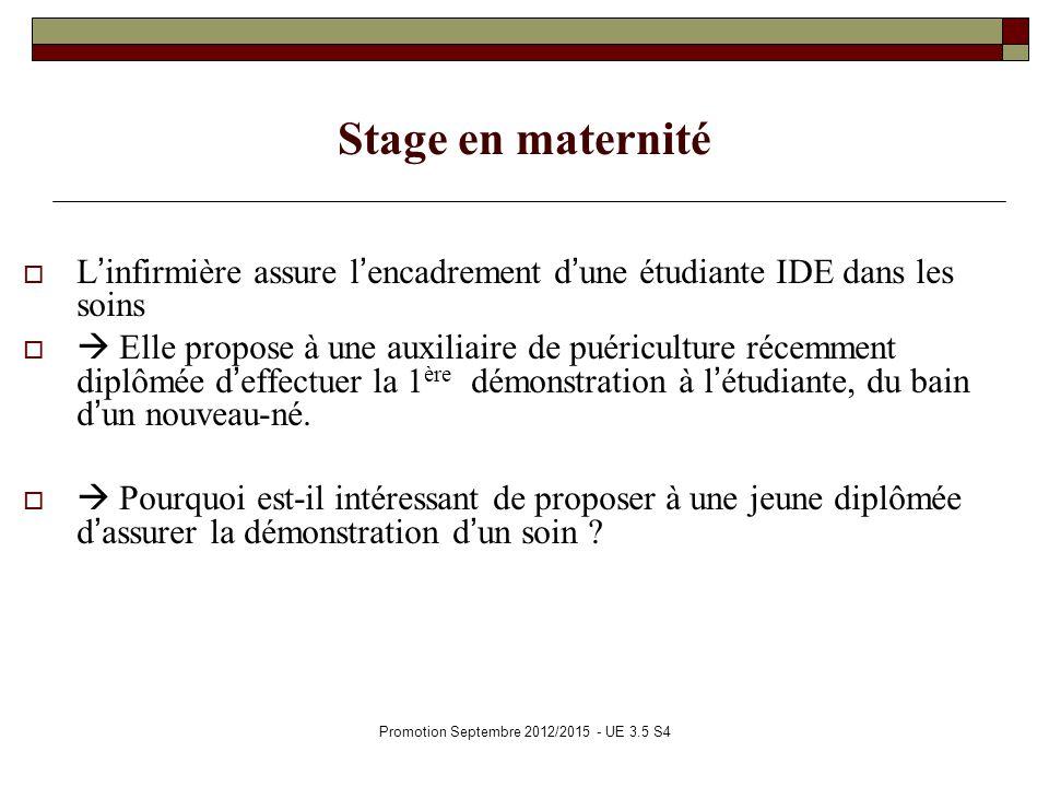 Stage en maternité Linfirmière assure lencadrement dune étudiante IDE dans les soins Elle propose à une auxiliaire de puériculture récemment diplômée