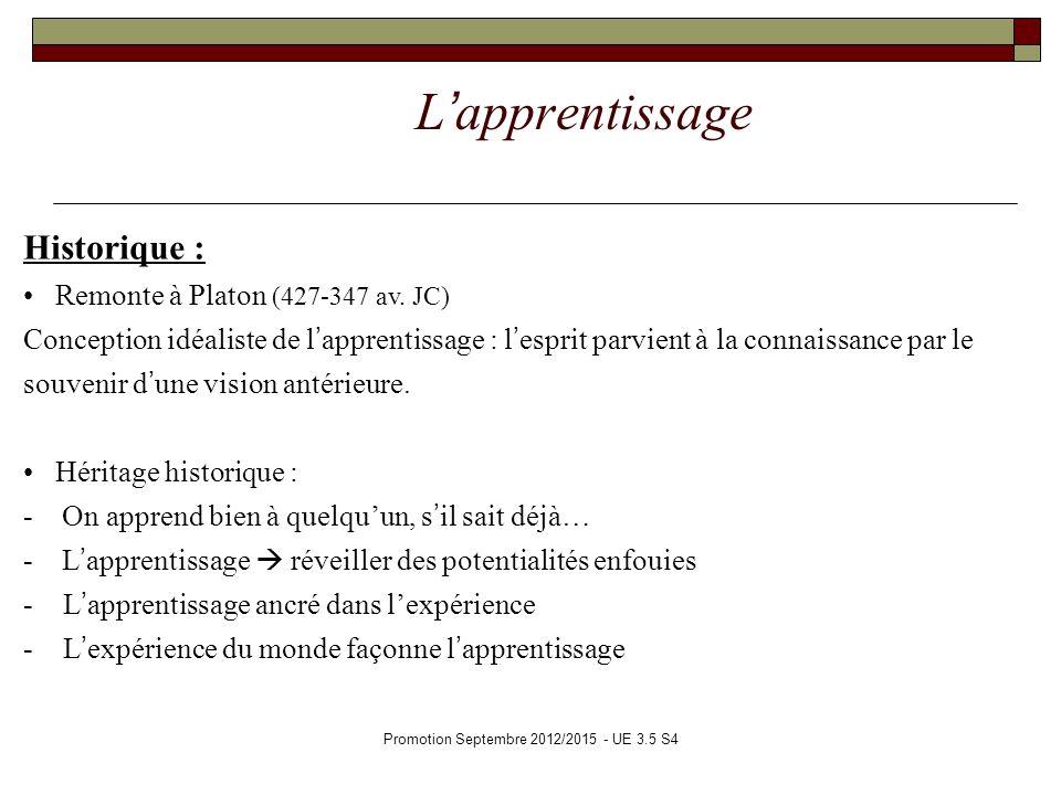 Promotion Septembre 2012/2015 - UE 3.5 S4 Lapprentissage Historique : Remonte à Platon (427-347 av. JC) Conception idéaliste de lapprentissage : lespr