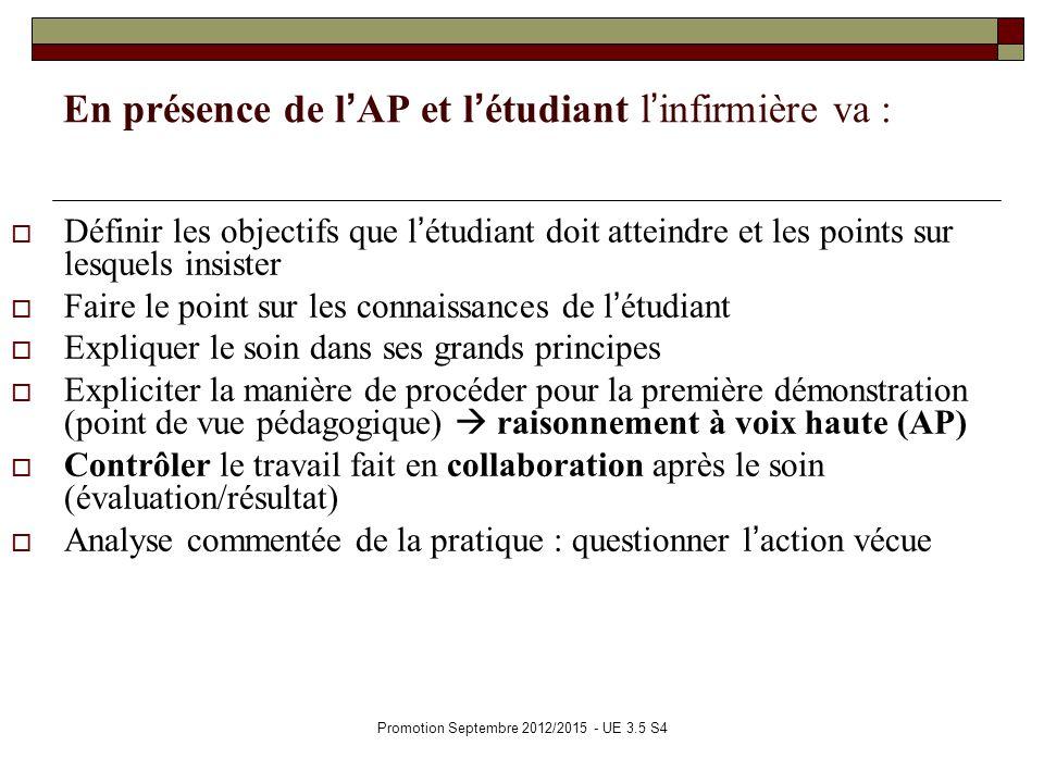 Promotion Septembre 2012/2015 - UE 3.5 S4 En présence de lAP et létudiant linfirmière va : Définir les objectifs que létudiant doit atteindre et les p
