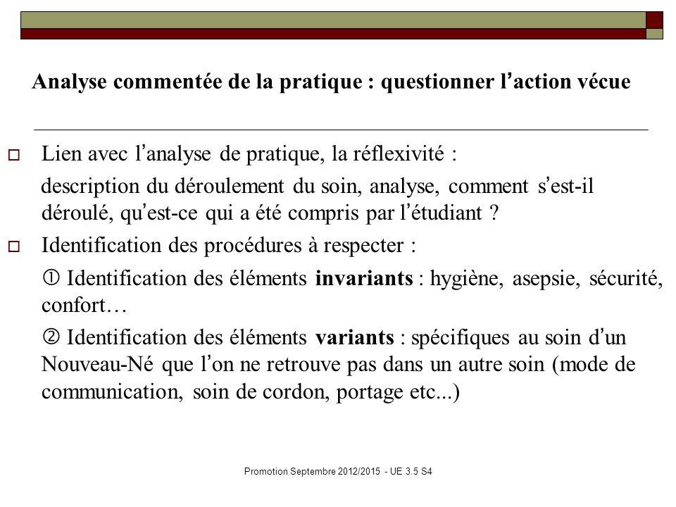 Promotion Septembre 2012/2015 - UE 3.5 S4 Analyse commentée de la pratique : questionner laction vécue Lien avec lanalyse de pratique, la réflexivité