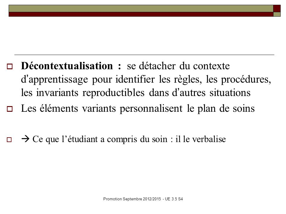 Promotion Septembre 2012/2015 - UE 3.5 S4 Décontextualisation : se détacher du contexte dapprentissage pour identifier les règles, les procédures, les